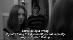 """American Horror Story: Murder House, season 1, episode 1, """"Pilot,"""" aired 5 October 2011. Violet Harmon is played by Taissa Farmiga and Tate Langdon is played by Evan Peters. Tate: You're doing it wrong. If you're trying to kill yourself, cut vertically. They can't stitch that up."""" Violet: """"How'd you get in here?"""" Tate: """"If you're trying to kill yourself, you might also try locking the door."""""""
