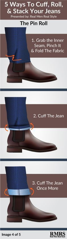 This is like a military shirt tuck for jean cuffs. mens jeans Stacking vs Cuffing vs Rolling Your Jeans Dress With Boots, Dress Shoes, Style Masculin, Herren Style, Cuffed Jeans, Men's Jeans, Rolled Jeans, Jeans For Men, Mens Jeans Outfit