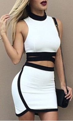 Sexy Stand Collar Hollow Out Backless Crop Top and Skirt Twinset For WomenSkirts | RoseGal.com