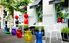 basil green pencil: Kartell Terrace in Madrid by Philippe Starck