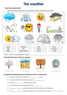 weather worksheet - Free ESL printable worksheets made by teachers - Wetter Seasons Worksheets, Weather Worksheets, 2nd Grade Worksheets, English Worksheets For Kids, Weather Activities, English Activities, School Worksheets, Printable Worksheets, Weather Crafts