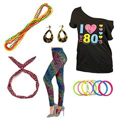 Fun Daisy Clothing Outfit I Love The Disco T-Shirt Party Theme Costume Outfit Accessories Best 80s Costumes, T Shirt Costumes, 1980s Outfit, 80s Party Outfits, 80s Tees, Ladies Fancy Dress, Animal Print Outfits, Costume Accessories, Printed Leggings