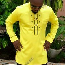 Odeneho Wear Men's Polished Cotton Top/Ankara & Embroidery. African Clothing.