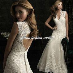Cap sleeves Wedding dressLace wedding Gown  by Elenafashionstudio, $279.00