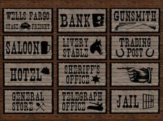 RE Old West Signs Bundle, 12 Total - Western/Club/Town/Saloon/Hotel