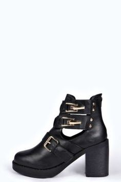 Zoe Clip and Buckle Trim Cut Work Boot