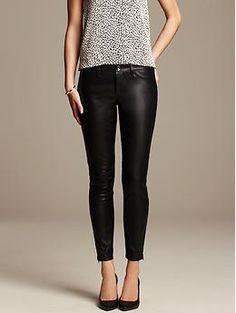 Sloan-Fit Faux-Leather Ankle Pant   Banana Republic