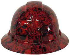 Hard Hat Full Brim American Flag Insanity Skulls 6 Point w//Free BRB T-Shirt