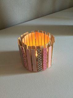 Photophore avec pinces à linge et masking tape