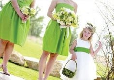 bridesmaid dresses green with flower girl white and green