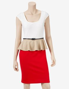 Cap Sleeve Colorblock Peplum Dress. Buy with We-Care.com to give a percentage to AdoptAClassroom.org!