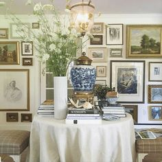 Fabulous Maura Endres Vignette via her instagram @m.o.endres - love her art wall and her amazing displays - beautiful table styling