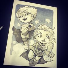 Another show done! @ozcomiccon Melbourne has been great! Thanks to everyone who stopped by my table. You bought every last copy of Rexodus and I did many sketches. It was good!  Here's another chibi 2 piece. #Powergirl and #Supergirl. Great request, which I enjoyed drawing. Cheers!