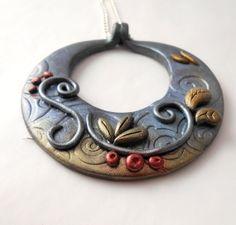 Round Blue Pendant necklace Leaf necklace by CalektrasJewellery, £20.00
