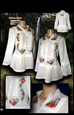 Bata com renda de algodão bordada a mão Plus Size Shirts, Trendy Kurti, Traditional Mexican Dress, Baby Dress Design, Mexican Fashion, Plus Clothing, Clothes 2019, Mexican Dresses, Embroidery Fashion