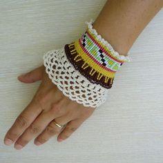 Crochet Bracelet Cuff Beaded Bracelet Cuff Loom by SvetlanaCrochet