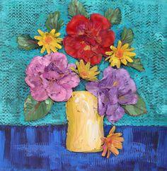 diy art silk flowers on canvas | EcoHeidi turns her silk flower left-overs into artwork make-overs ...