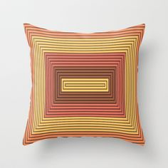 Rectangles gamboge and vermilion Throw Pillow by aapshop - $20.00