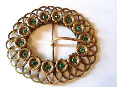 #Vintage #VogueTeam #BiziTalk Art Nouveau Rhinestone & Brass Belt Buckle Vintage Massive Fashion Accessory