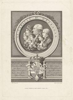 Antoine Cardon | Groepsportret van de Spaanse Koninklijke familie, Antoine Cardon, 1807 | Groepsportret van Karel IV, koning van Spanje met zijn vrouw en vijf kinderen. De portretbustes en profil naar links zijn naast elkaar in een medaillon geplaatst. Onder de portretten het Koninklijke wapen en de namen van de geportretteerden.