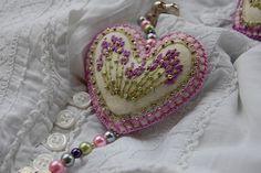 felt heart and beads