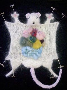 """Knitted Laboratory Rat Dissection Do you wonder where do science and crafting intersect? Or what would it look like if your grandmother's afghan and your 10th grade biology class had a baby? Carefully crafted to induce light shudders and serious brow wrinkling. Your rat is mounted with metal T pins in a 13""""x13"""" black shadow box and guaranteed to provoke conversation wherever you display it. $100"""