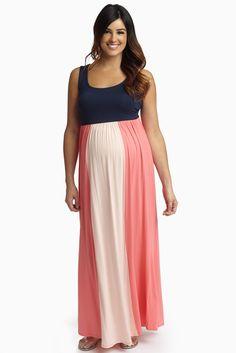 Navy-Blush-Pink-Colorblock-Maternity-Maxi-Dress