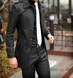 All blk canvas with white tie. Thought white tie against all blk wld seem too prom-y but works with structured clean-cut coat or jacket. Fashion Mode, Look Fashion, Korean Fashion, Mens Fashion, Fashion Beauty, Mode Masculine, Sharp Dressed Man, Well Dressed Men, Mode Bcbg
