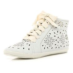 white laser cut high tops - high tops - shoes / boots - women - River Island