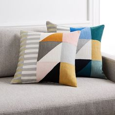 Divided Squares Crewel Pillow Cover - Blue Teal