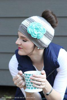 Ponytail Hat Crochet Pattern/Messy Bun Hat Pattern - Daisy Cottage Designs