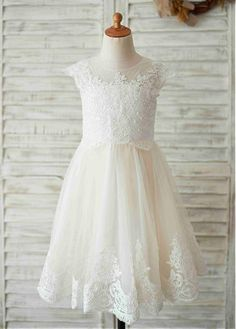 d4bf70dc93 Magbridal Marveous Tulle Jewel Neckline Knee-length A-line Flower Girl  Dresses With Beaded Lace Appliques
