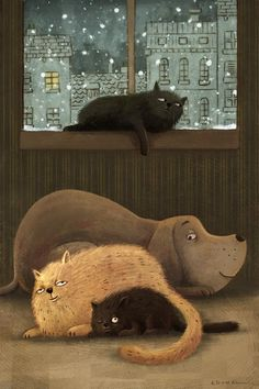 Dog and cat art, by Alex Dukal - illustrator Illustrator, Image Chat, Here Kitty Kitty, Dog Paintings, Cat Drawing, Drawing Animals, Pictures To Draw, Drawing Pictures, Painting Pictures