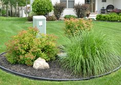 Plantings help disguise the utility boxes at a new build on Grand Island, NY.