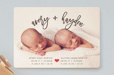 Dashing Duo Birth Announcements by Shirley Lin Sch... | Minted