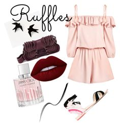"""""""ruffling & jumping"""" by kirac on Polyvore featuring Fendi, Sophia Webster, Jimmy Choo, Lime Crime, Too Faced Cosmetics and ruffles"""