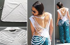 40 Genius No-Sew DIY Projects via Brit + Co - T shirt - Swimsuit cover up