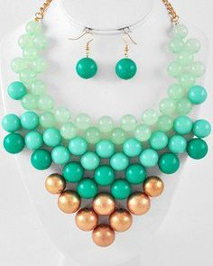 From Paris With Love Chunky Mint Green up to Gold Beaded Necklace Set Jewelry