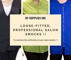 To maintain the uniformity of your salon stylists, get Loose fitted, Professional, fluid-resistant Salon Smocks from HY Supplies Inc !! #salonsmocks #salonsmockswholesale #salonuniforms #salonapparel #salonsmocksbulk Smocks, Get Loose, Beauty Industry, Salons, Stylists, Fitness, Lounges