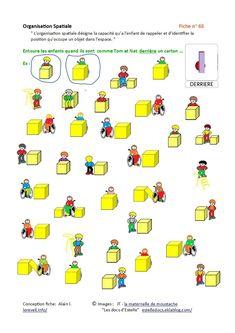 """Un des articles les plus partagés sur Le Réveil... Merci à vous... """" L'organisation spatiale désigne la capacité qu'a l'enfant de rappeler et d'identifier la position qu'occupe un objet dans l'espace."""" Voici des fiches de difficulté croissante conçues..."""