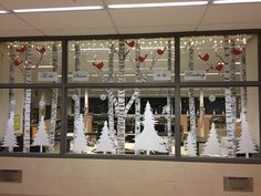 Library Christmas, birch trees used pool noodles. Office Xmas Decorations, Classroom Window Decorations, Christmas Window Decorations, Classroom Decor, Desk Decorations, Christmas Decor, Classroom Window Display, Winter Window Display, Winter Bulletin Boards