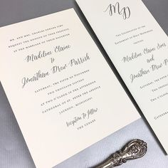 Madeline Sims and Drew Parrish's wedding invitations featured the prettiest combination of two of our favorite typestyles.  We carried the typography over to the program perfectly.