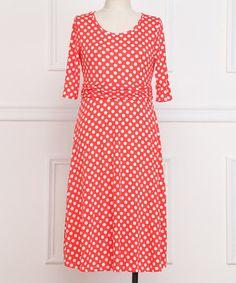 Loving this Red Polka Dot A-Line Dress