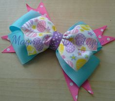 Girls Handmade Hair Bow Accessory Easter Egg by magnoliasbowtique
