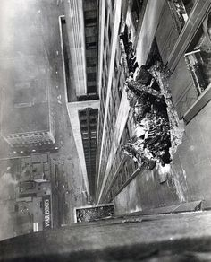 """On July 28, 1945, a B-25 bomber on its way to Newark Airport swerved off course, meandering over the foggy city and smashing into the Empire State Building. The pilot, Lt. Colonel William Smith managed to avoid crashing into the Chrysler Building, Rockefeller Center and the New York Central building (today's Helmsley Building). It was impenetrably foggy that morning, which would explain his final words: """"From where I'm sitting, I can't see the top of the Empire State Building."""" — It was im"""