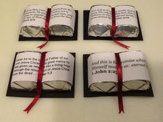 Candy Bibles for my women's group for Easter Black card stock, two Hershey Nuggets, Bible verse on paper, ribbon and glue dots