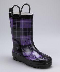 Purple & Black Plaid Rain Boot- preppy!!  #Zulily, #Fall