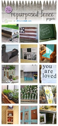 26 Fun Repurposed Fence Projects!  For when we replace the fence at the new house!