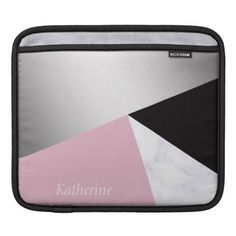 Elegant geometric silver white marble pink black sleeve for iPads - marble gifts style stylish nature unique personalize