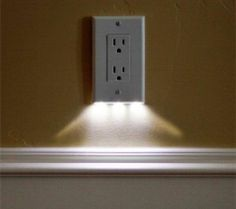 LED night light outlet covers install in seconds, use just 5 cents of power per year - Home Sweet Home - Kitchen Decorating, Basement Decorating, Decorating Ideas, Decor Ideas, Basement Ideas, 31 Ideas, Do It Yourself Inspiration, Led Night Light, Night Lights